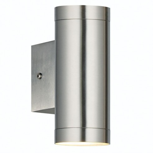 Twin Wall Lights Garden : Nordlux Rome GX53 Twin Outdoor Wall Light - Brushed Steel