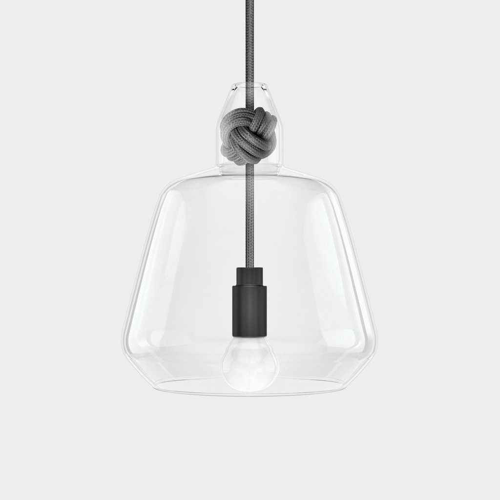 large glass pendant light. Vitamin Living Large Knot Lamp Glass Pendant Light - Grey L