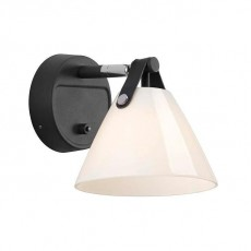 DFTP Nordlux Strap 15 Glass Wall Light Black Opal