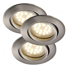 Newton 3-Kit Recessed 5W LED Downlight - Brushed Steel
