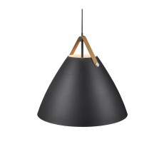 Nordlux Strap 68 Ceiling Pendant Light Black - Brown Strap 84363003
