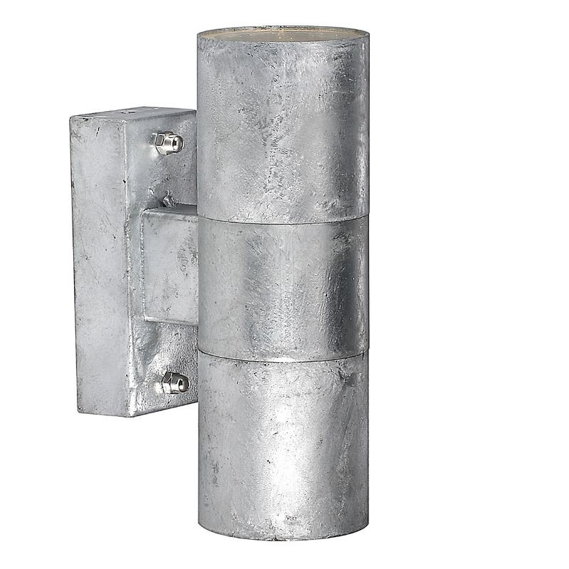 Double Wall Light External : Nordlux Castor Double Outdoor Wall Light - Galvanised