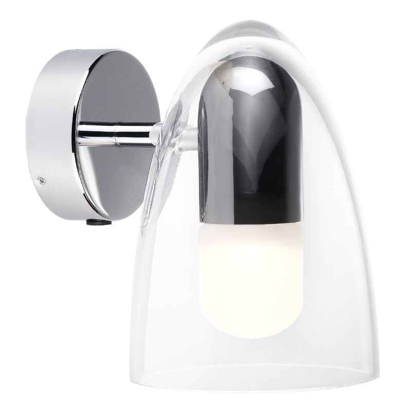 Chrome Flush Wall Lights : Nordlux IP S7 Clear Shade Wall Light - Chrome