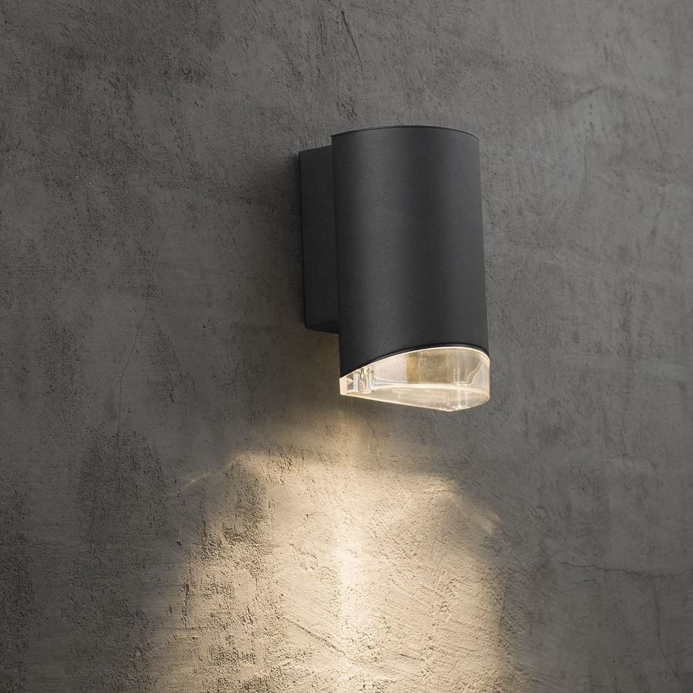 ... Nordlux Arn Black Outdoor Wall Down Light