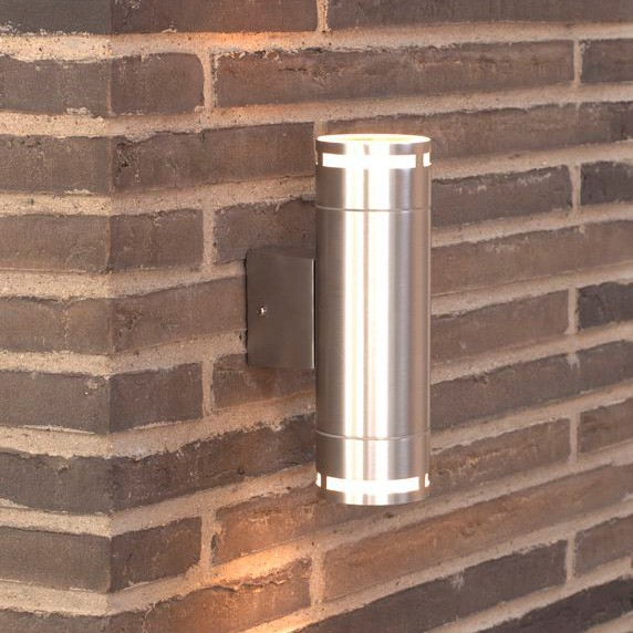 Double Wall Light External : Nordlux Can Maxi Double Outdoor Wall Light - Aluminium