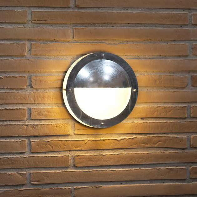 Wall Lights With Half Shades : Nordlux Malte Half Shade Outdoor Wall Light - Galv Steel