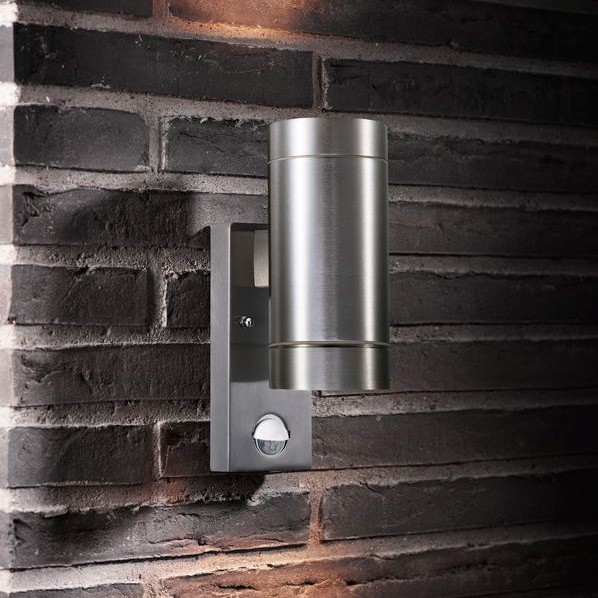 Wall Lights With Sensor : Nordlux Tin Maxi Double Wall Light With Sensor - Aluminium
