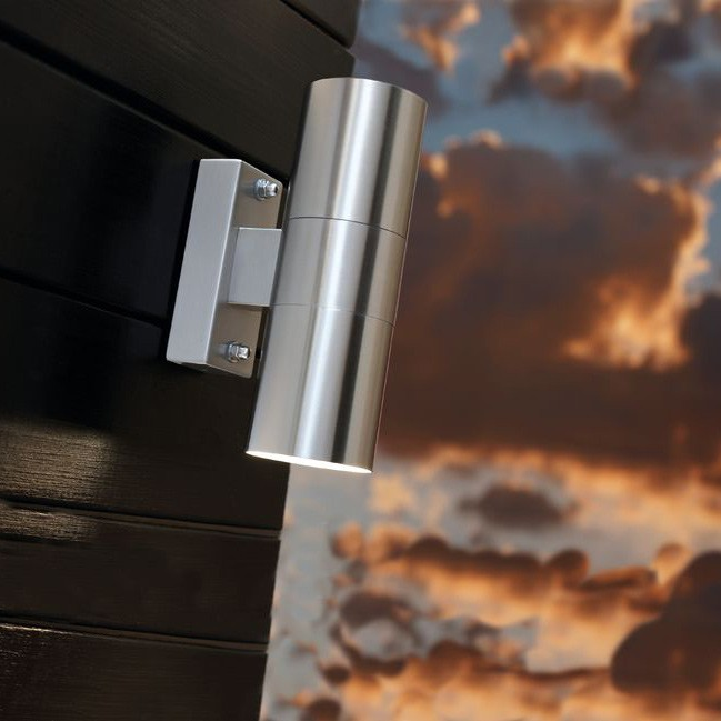 Nordlux Tin Double Outdoor Wall Light - Stainless Steel