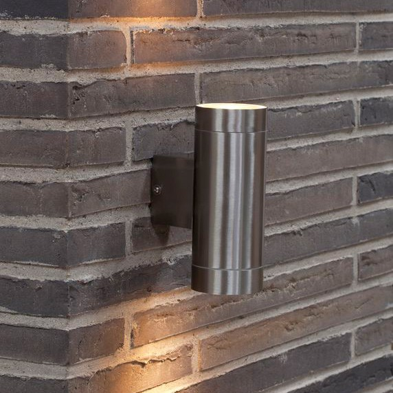 Nordlux Tin Maxi Double Outdoor Wall Light Brushed Steel